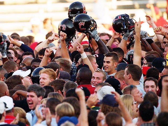 September 19, 1999   Students storm the field as the Bearcats stun #9 Wisconsin (and eventual Heisman winner Ron Dayne) at Nippert Stadium, 17-12. The 'Cats were 26-point underdogs.