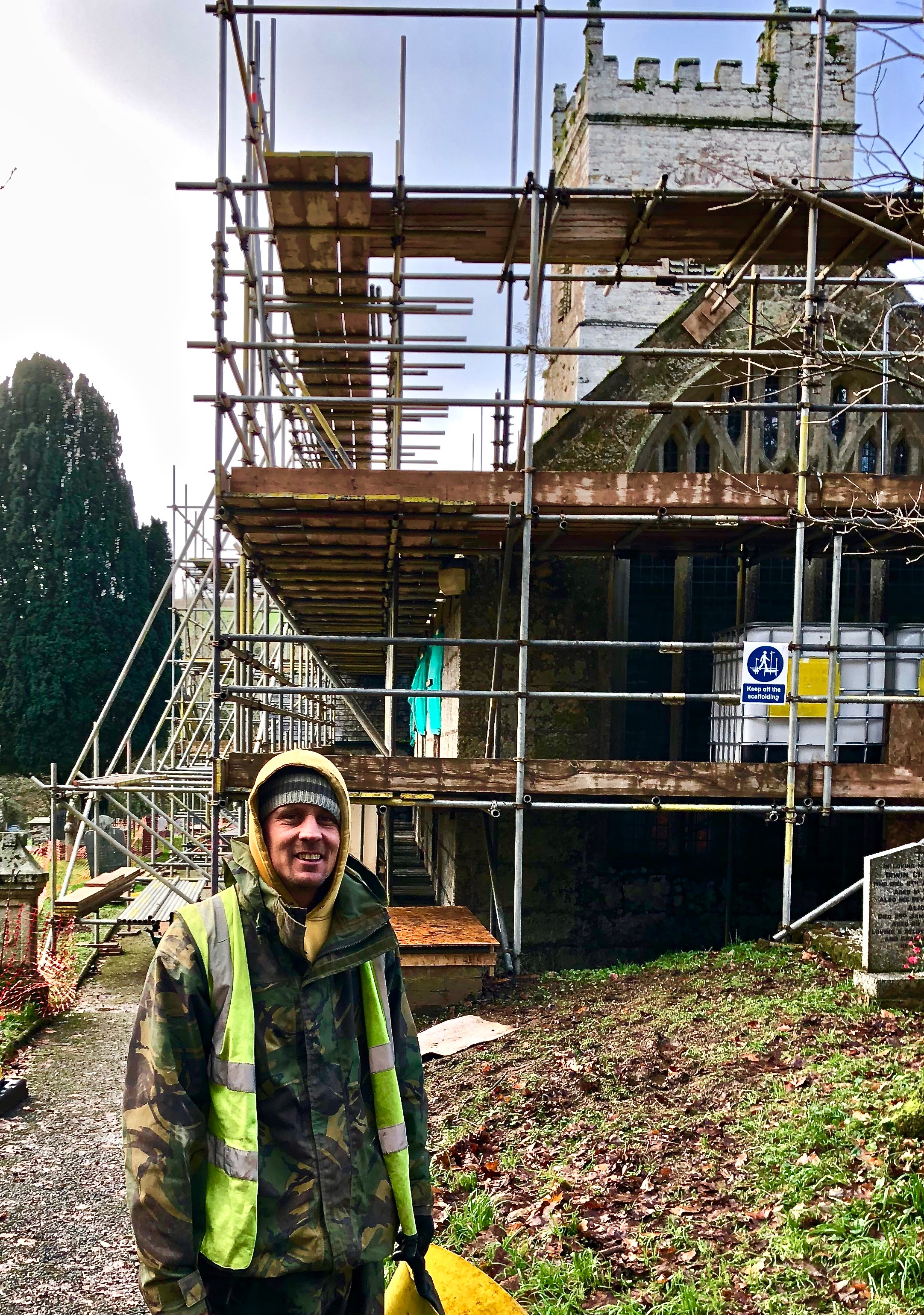 "7/12/18 chris - the scaffolder in chief….'""Its going well in spite of the rain"""