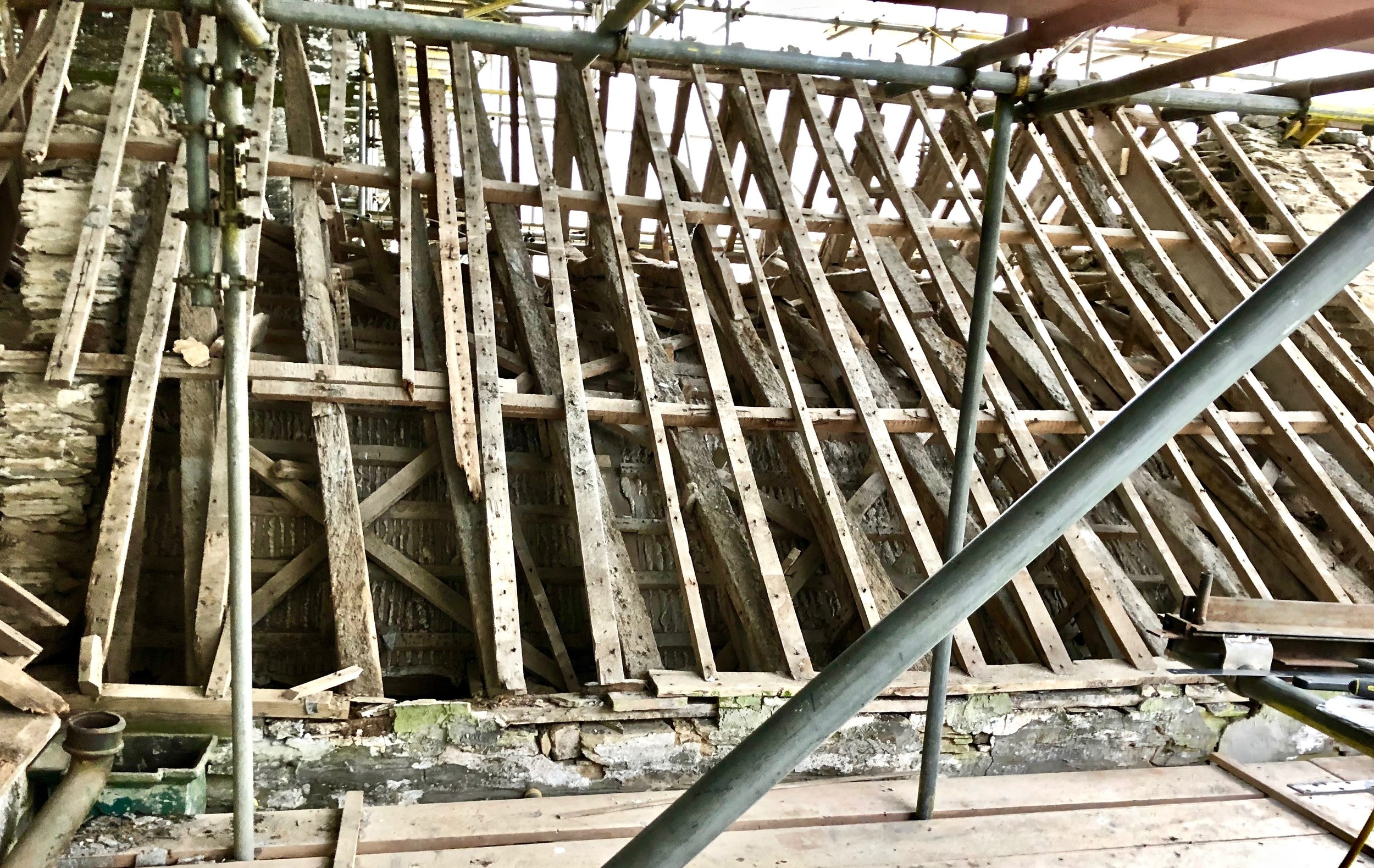 Ancient Rotten rafters in the north transept - Probably the oldest part of the church