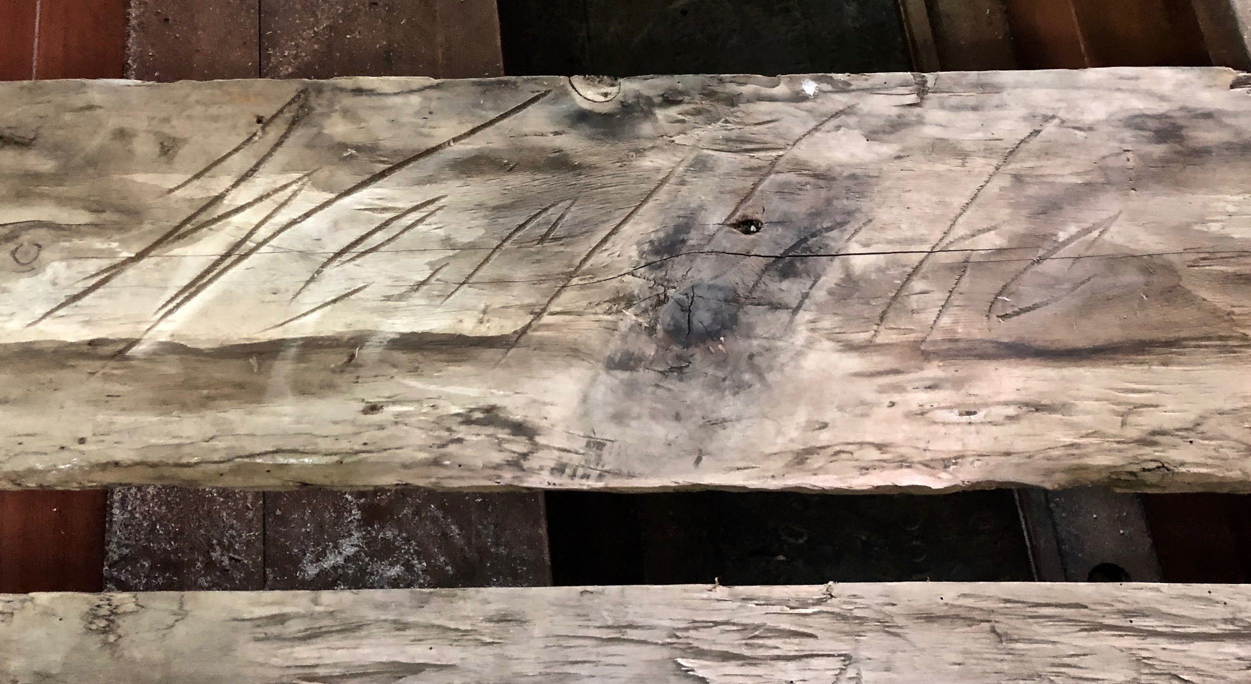 John Westlake - the victorian master builder of 79 fore street camelford, carved his name on this plank in about 1860 and left it in the roof space