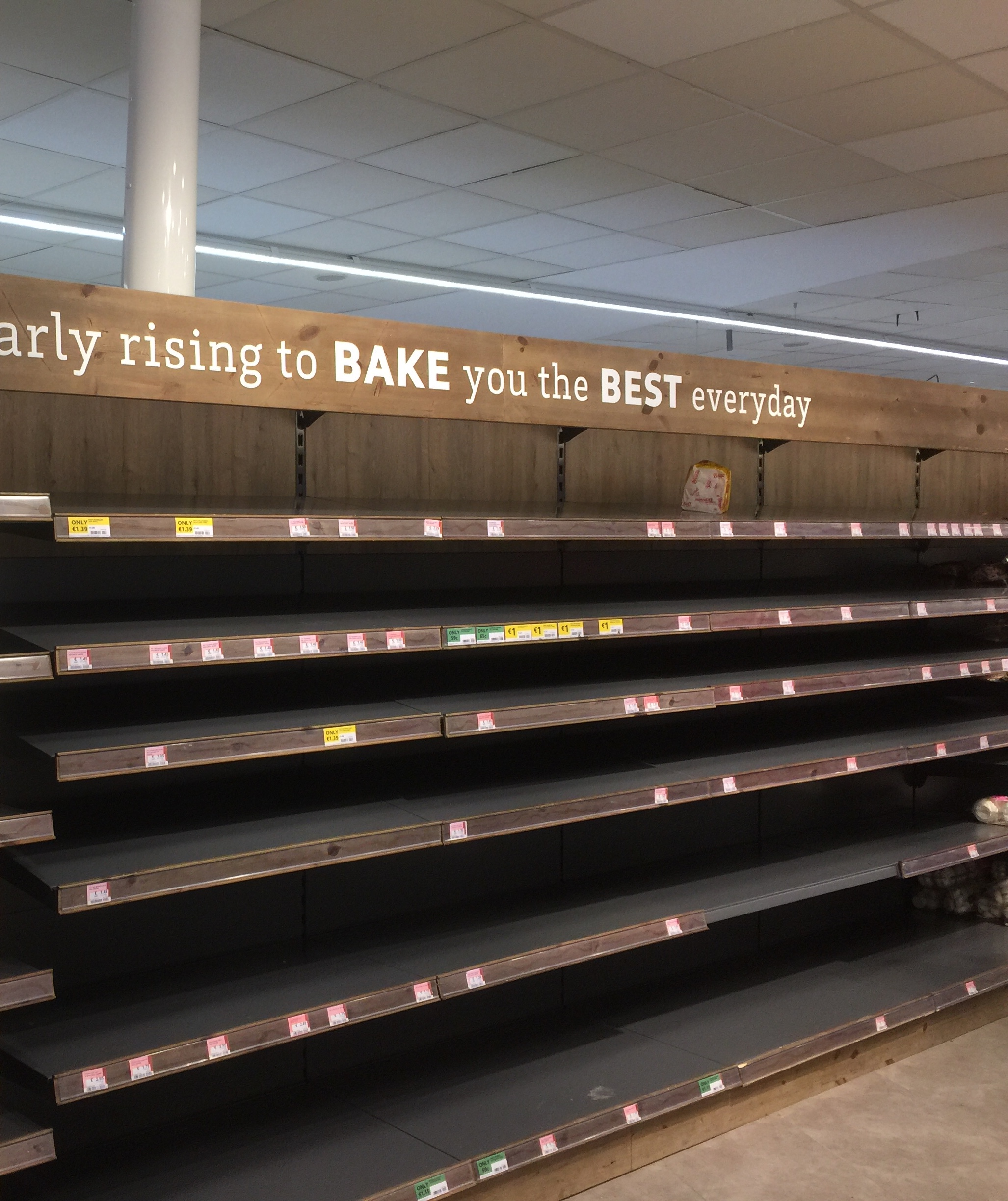 Empty bread shelves before snow arrived