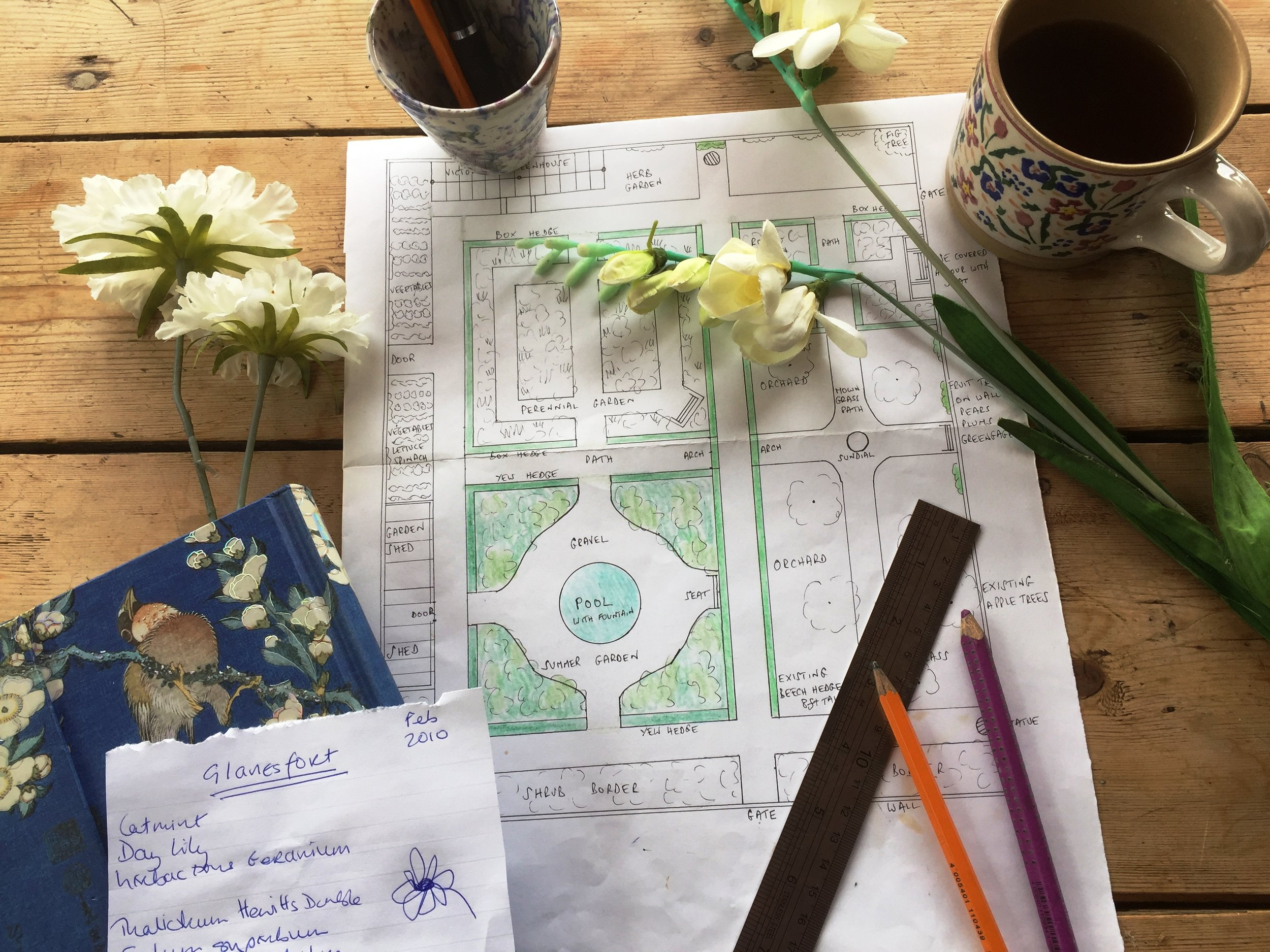 Gilly has been working on her design for the walled garden at Glanesfort (THE NEGLECTED GARDEN - due to be published in 2018)