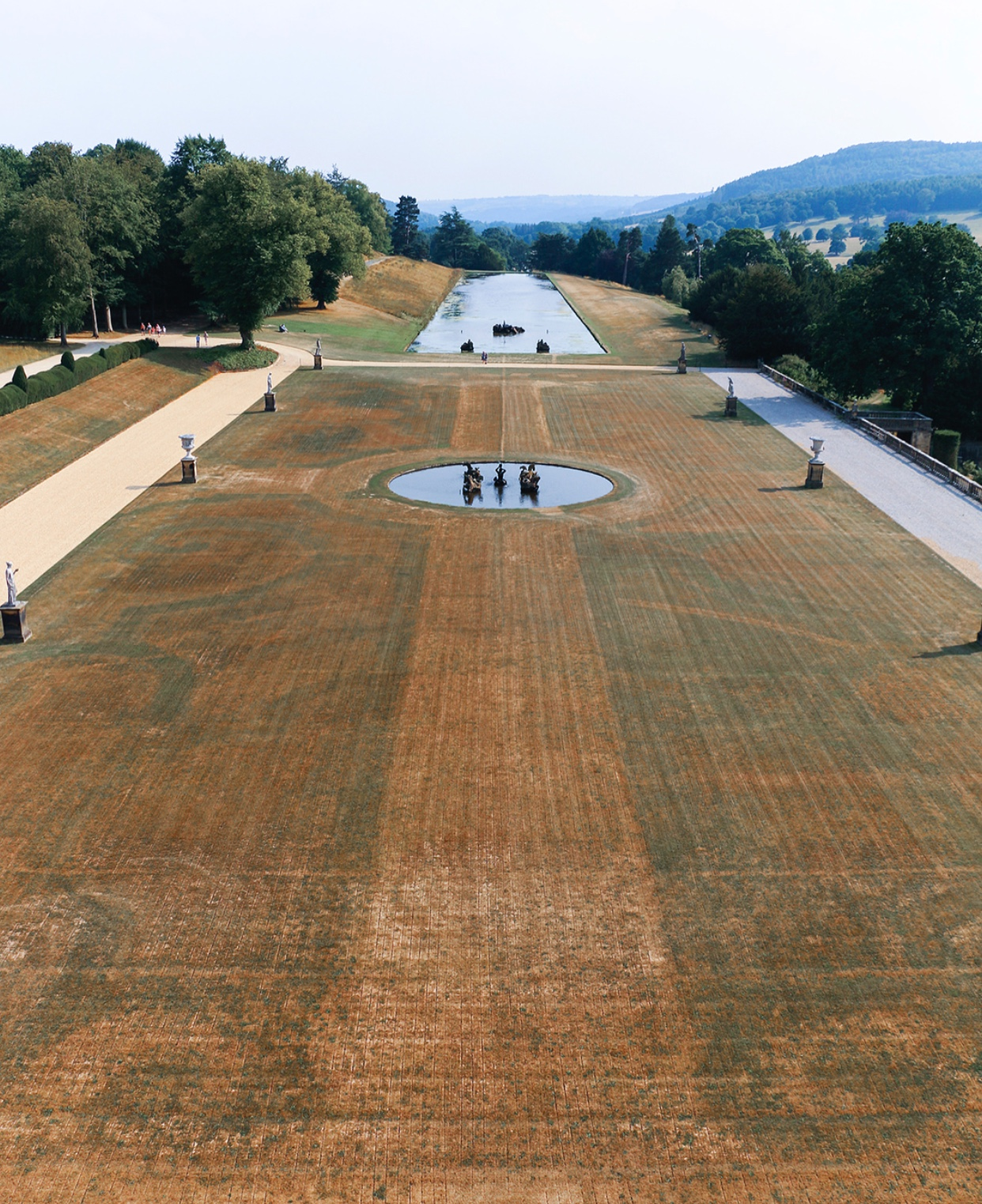 The lawn at Chatsworth in Derbyshire displays scorch marks of a 17th century parterre - (Photo: © Chatsworth House)