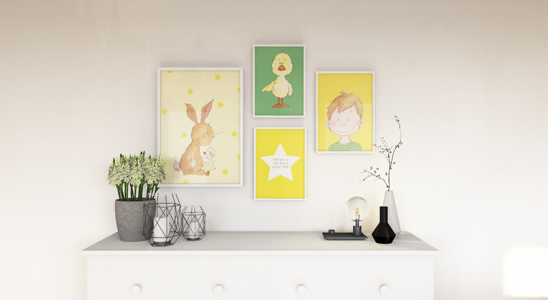 Bilder Kombi in gelb - Kinderzimmer