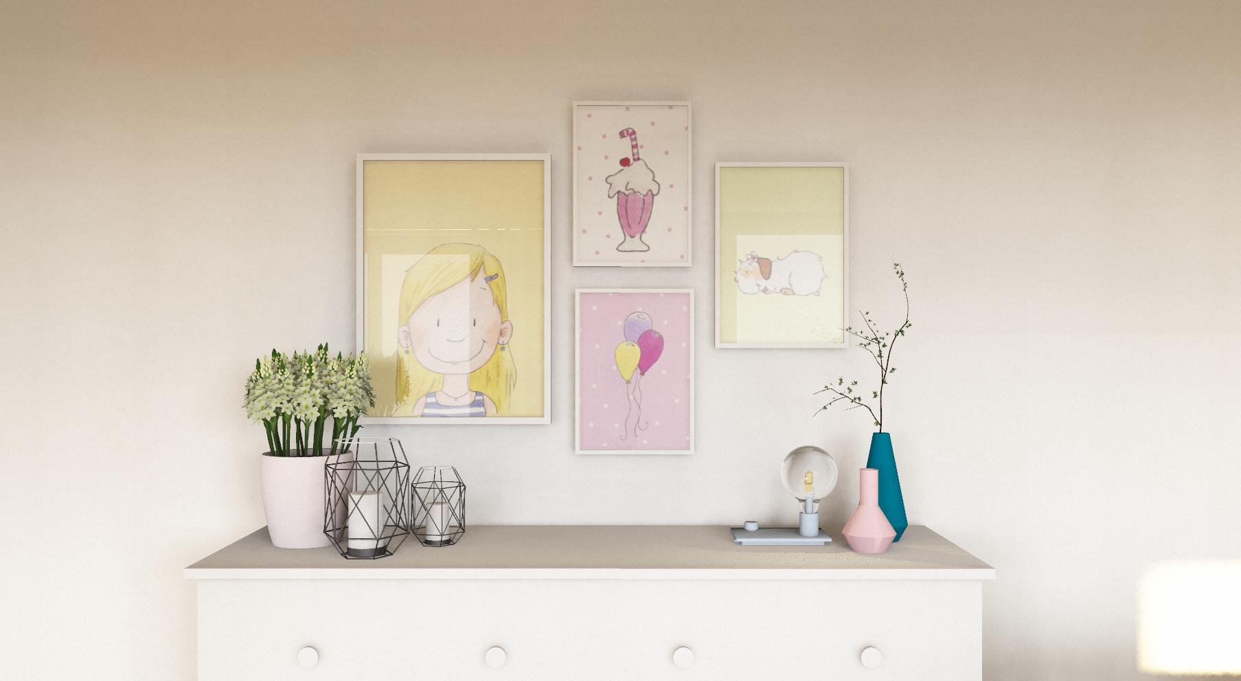 Bilderkombi in pink - Kinderzimmer