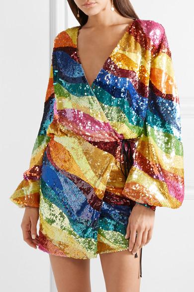 ATTICO - Sequined tulle wrap mini dress