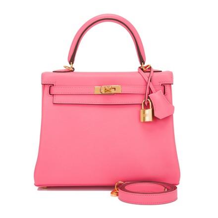 hermes kelly swift pink leather satchel - $20,125