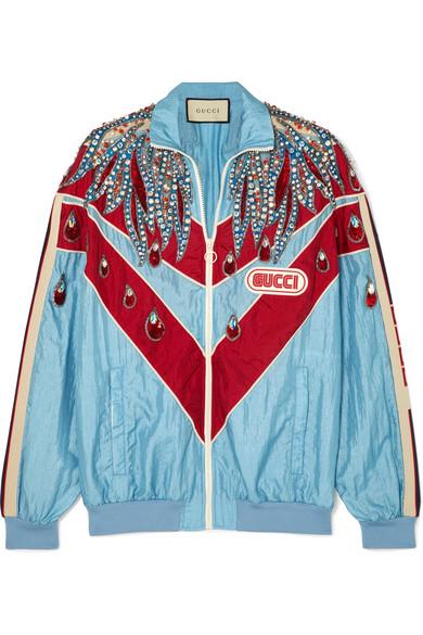 gucci - Paneled embellished shell track jacket