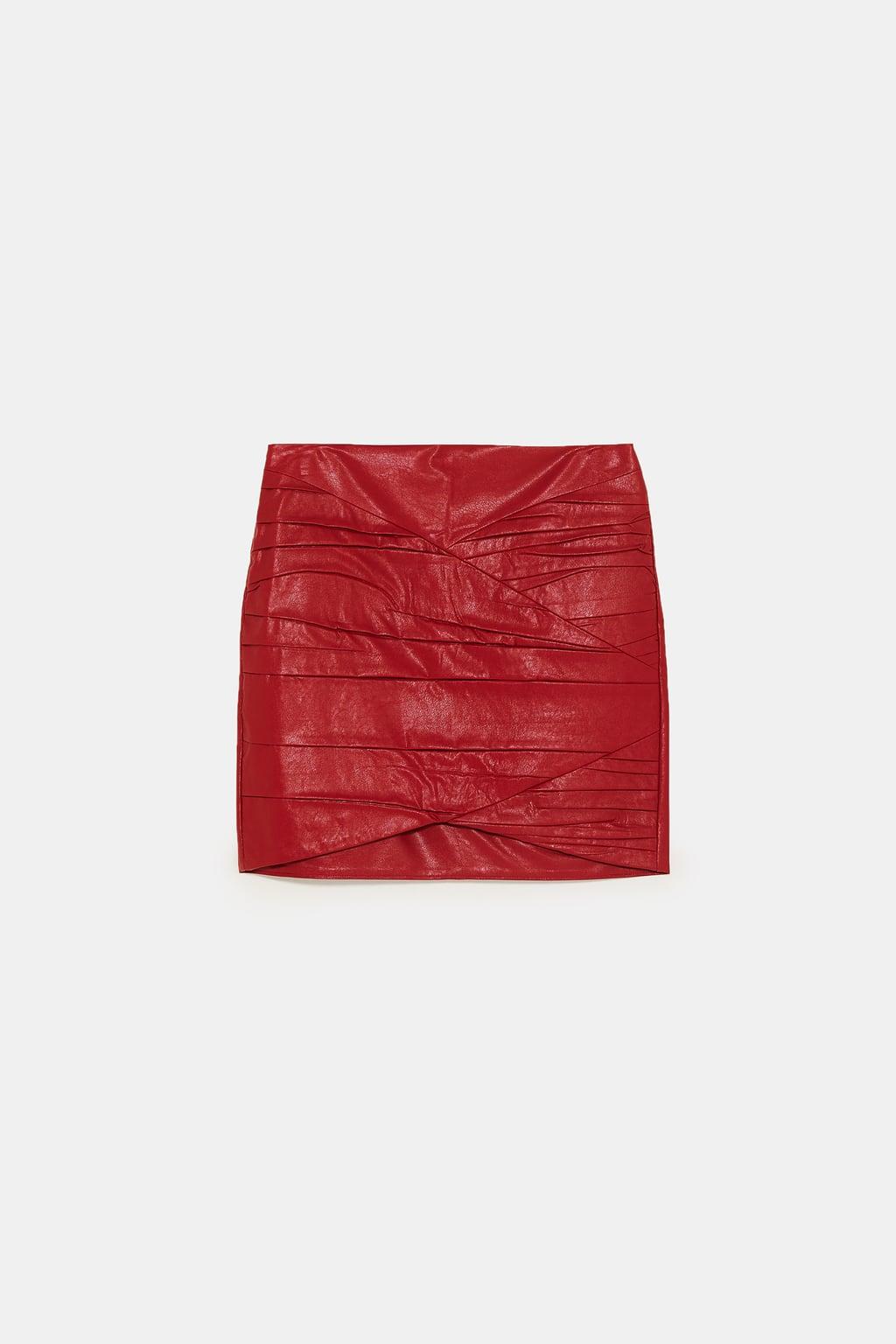 zara - gathered faux leather mini skirt