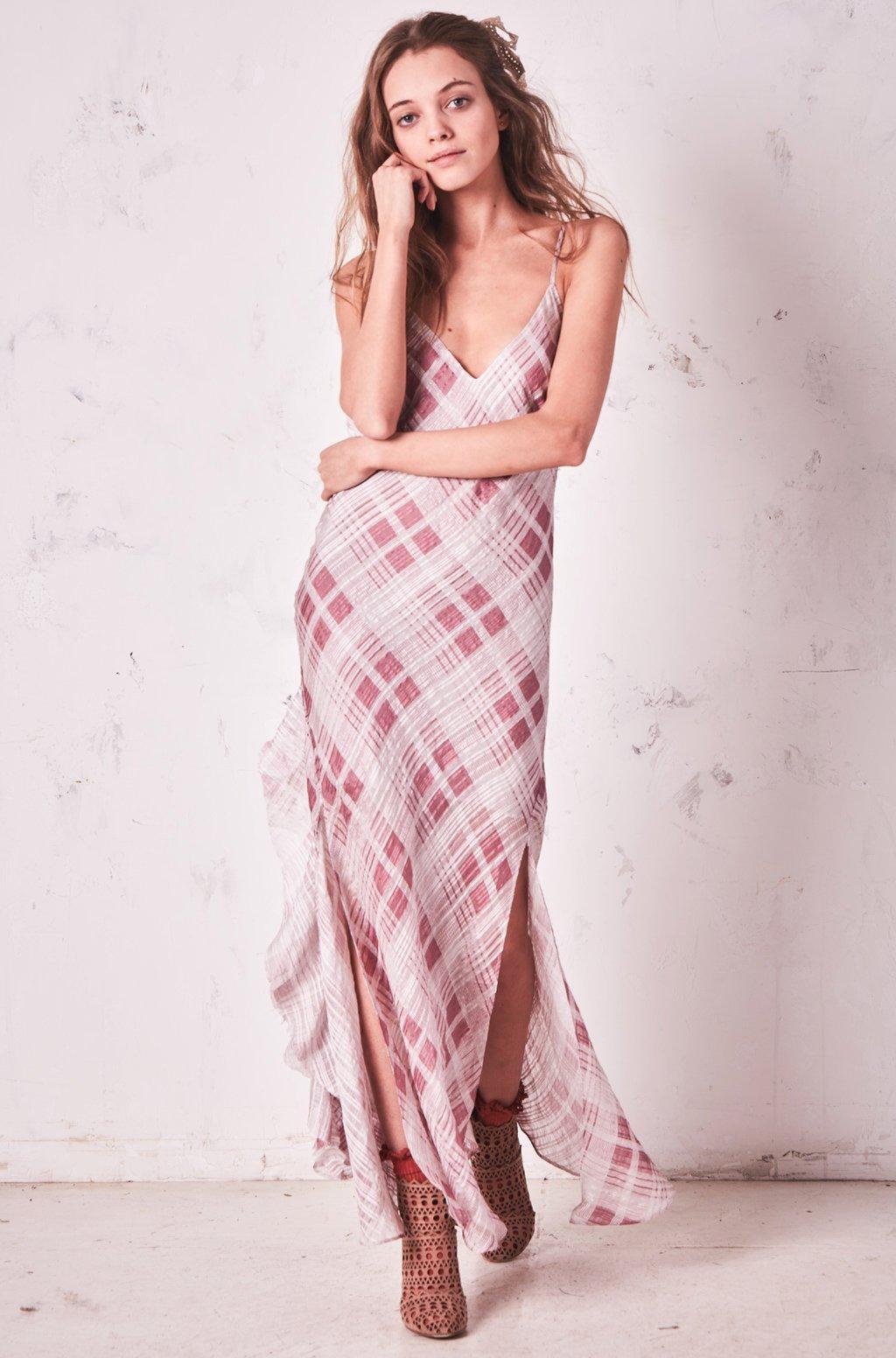 love shack fancy - kate ruffle slip dress