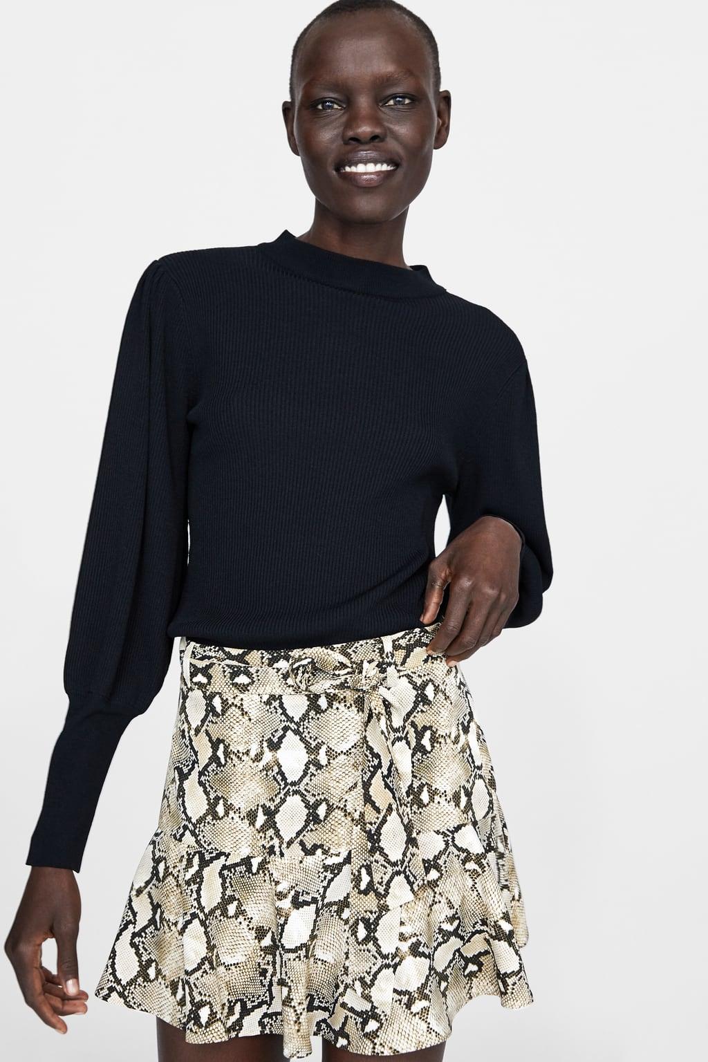 zara - animal print shorts