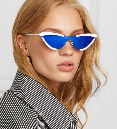 le specs - + Adam Selman The Scandal cat-eye metal mirrored sunglasses