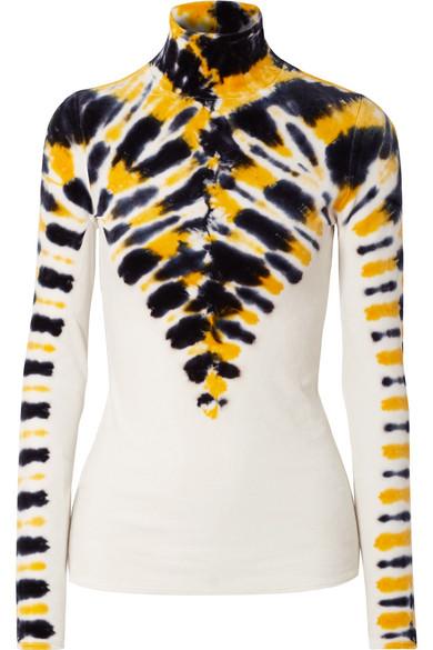 Proenza Schouler - Tie-dyed stretch-velvet turtleneck top
