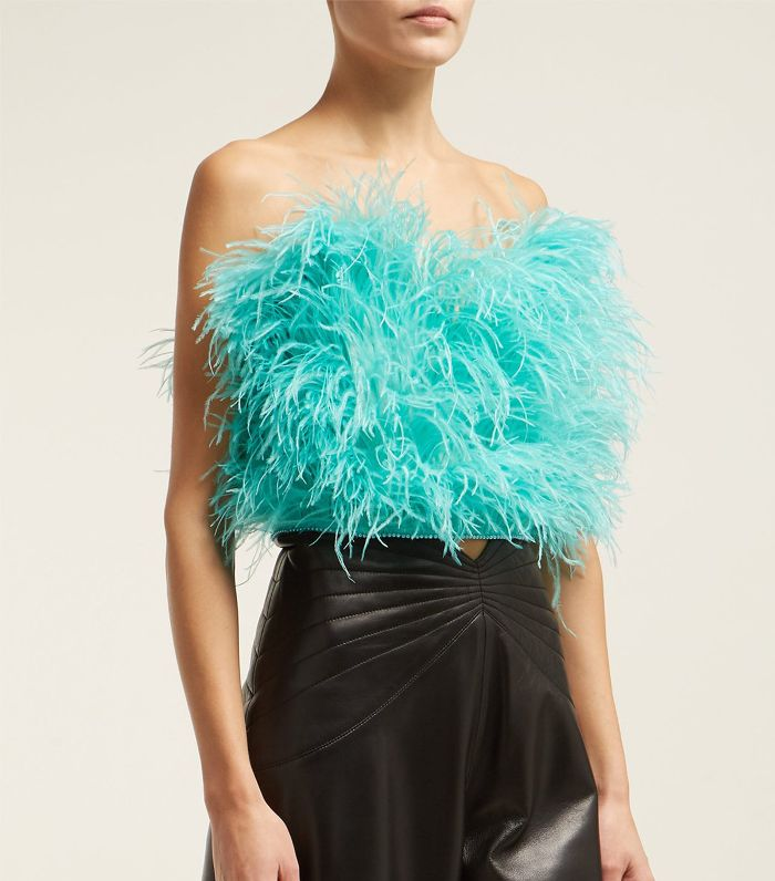 ATTICO - Faux pearl-trimmed ostrich feather top