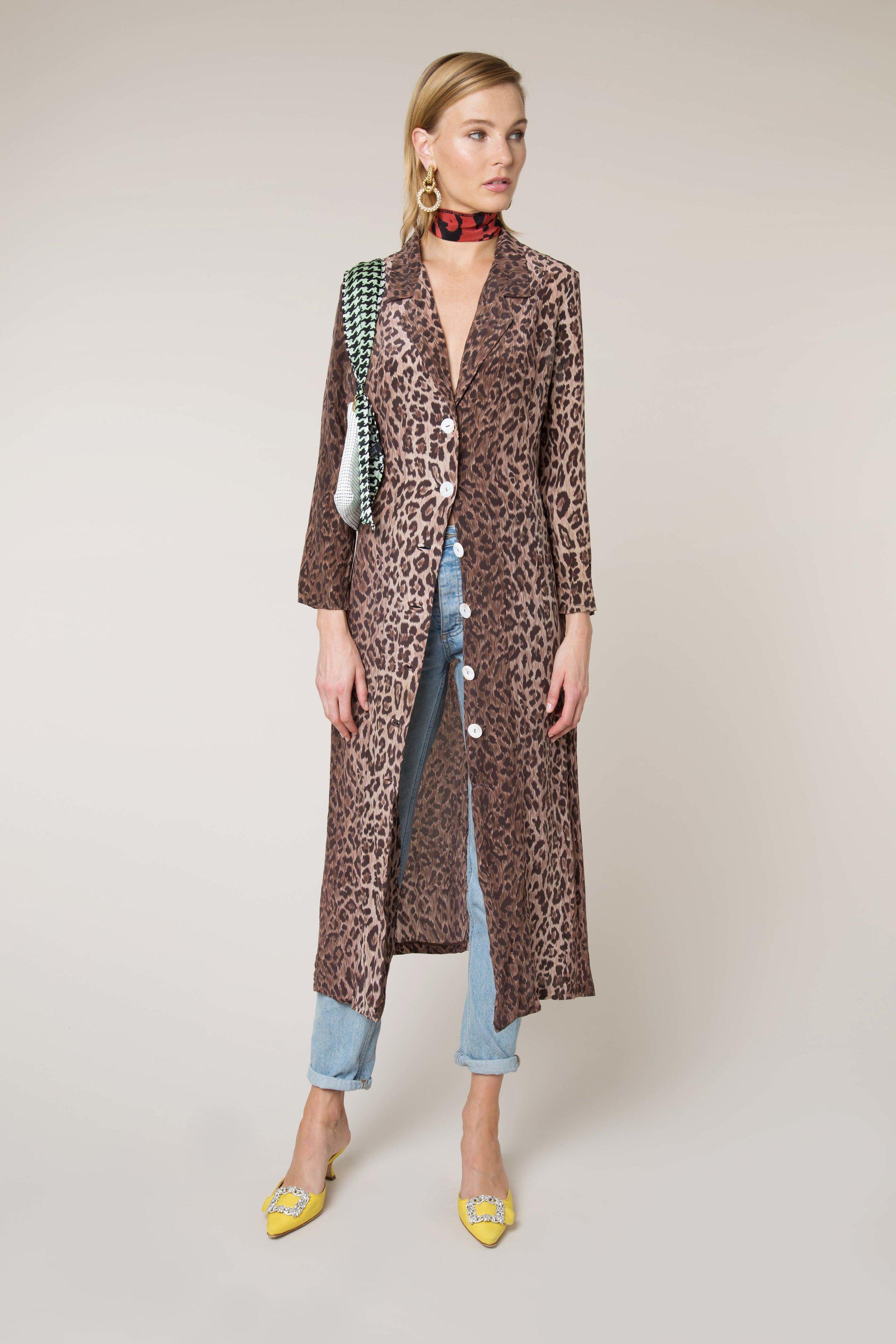 - Sienna Leopard Button Down Midi Dress