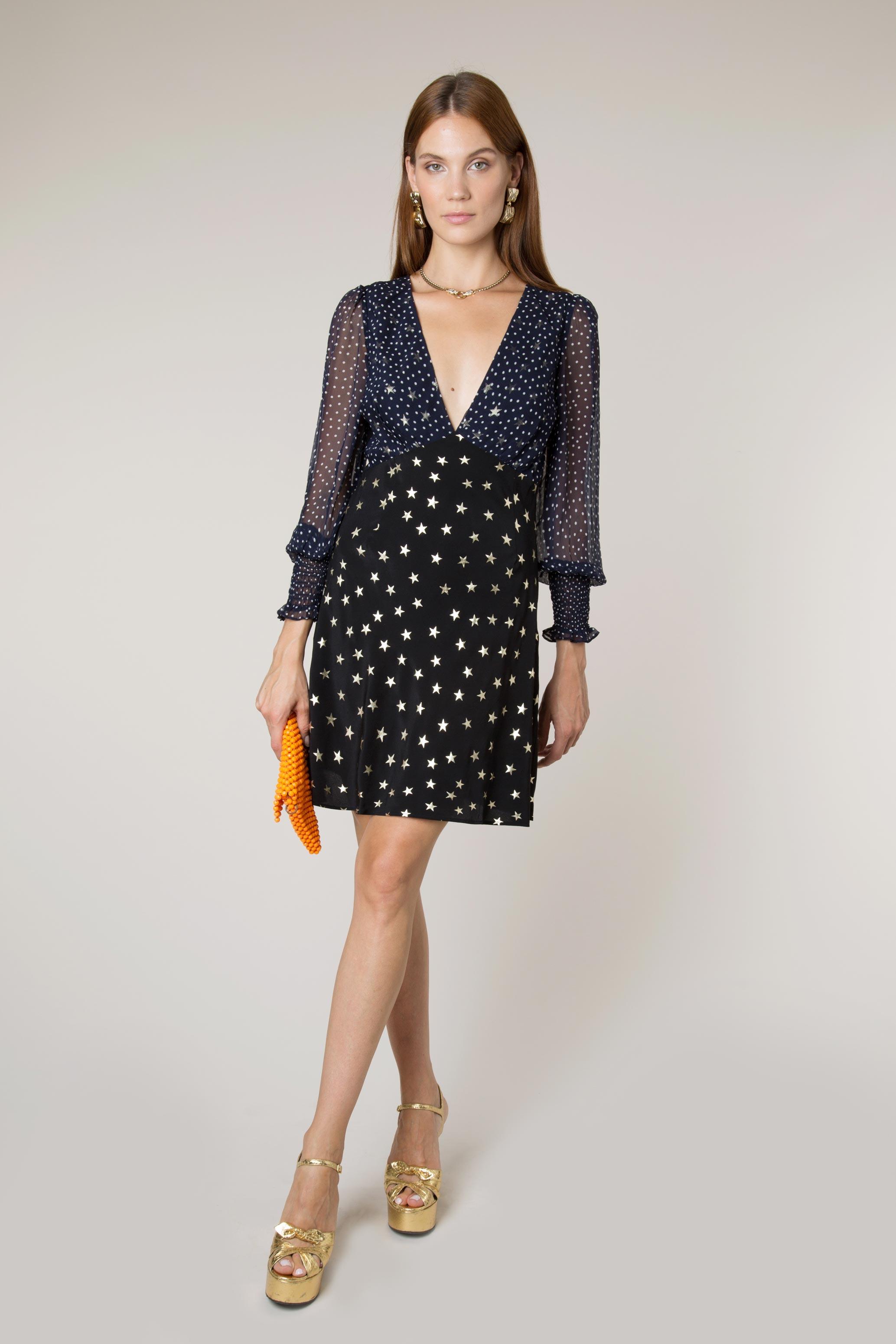 - Lia All Star & Navy Micro Dot Mini Dress