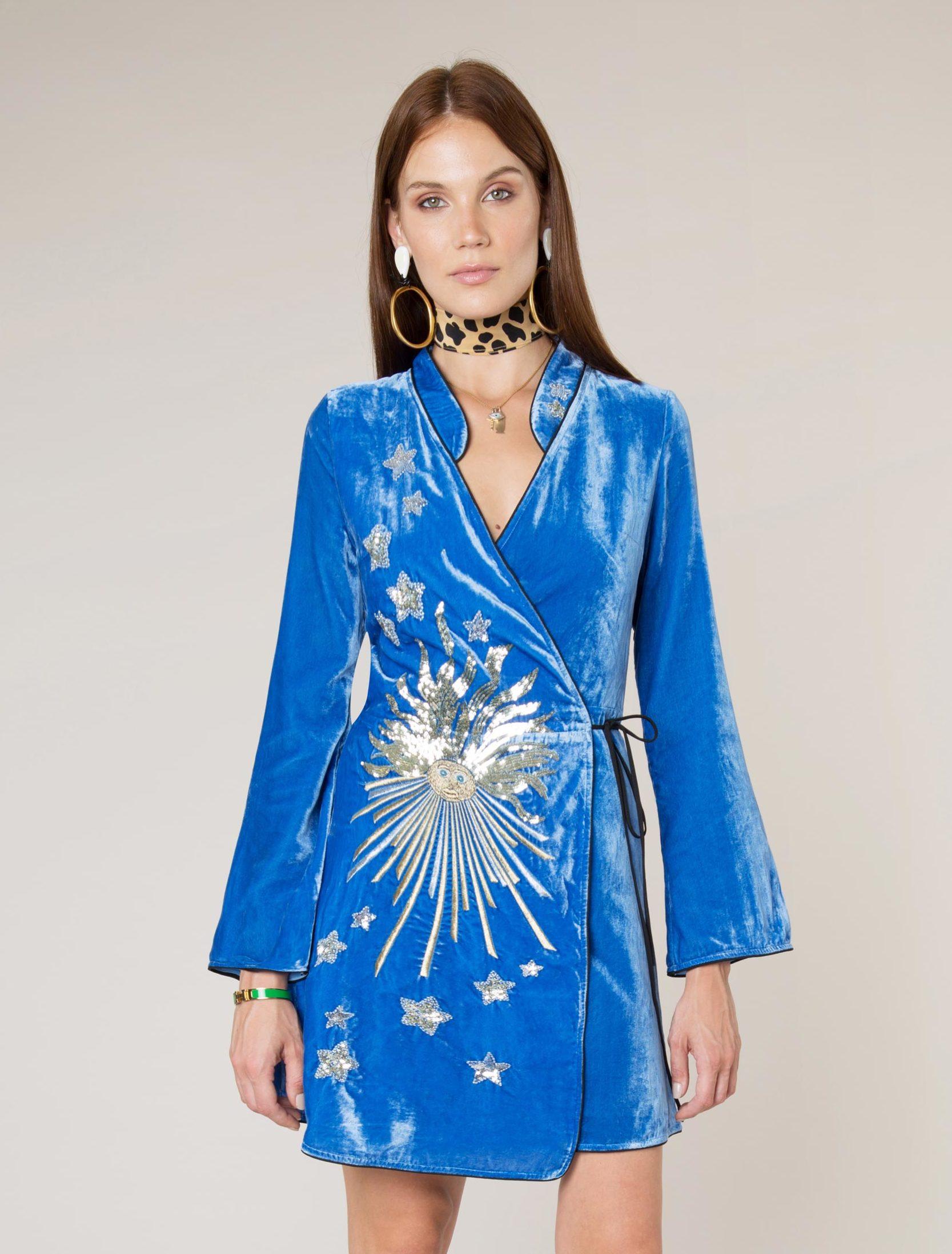 - IriS Blue Embroidery Mini Wrap Dress
