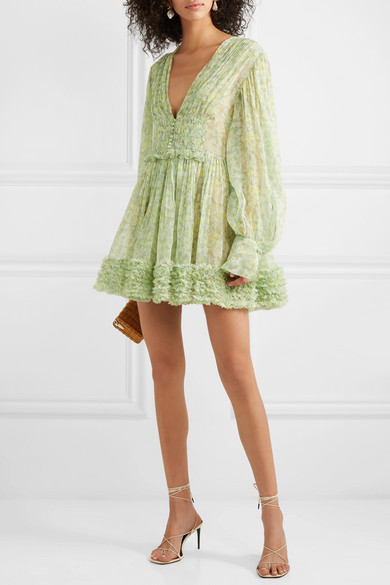 Stella McCartney - Ruffled floral-print silk-crepon mini dress