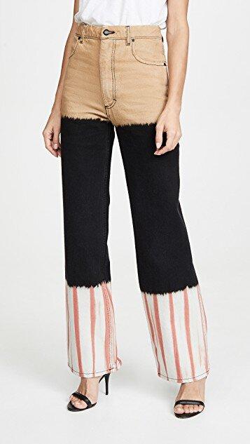Eckhaus Latta Stack Dyed Wide Leg Jeans: $375