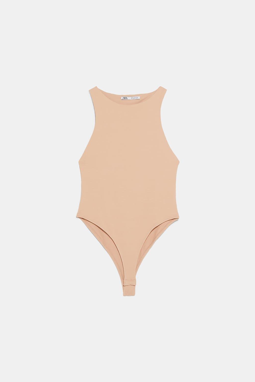 Zara Halter Bodysuit in Beige: $20