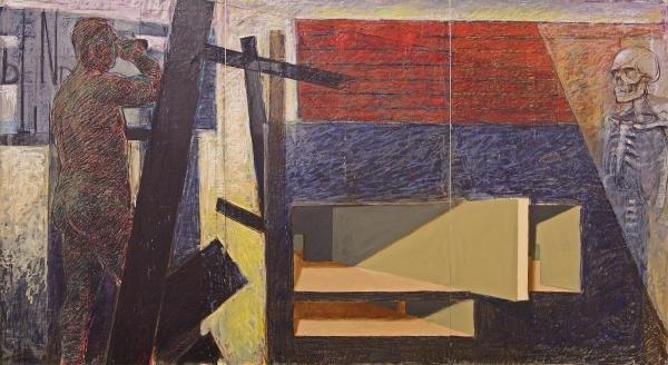 "Domination of Black Oil and oilstick on Mylar 72"" x 144"""