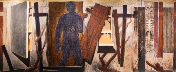 """Blue Man Passing  Oil and oilstick on Mylar 60"""" x 144"""""""