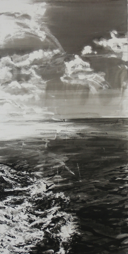 """First Wave"" 38"" x 19"" Sumi Ink on (Arches) Paper 2018"