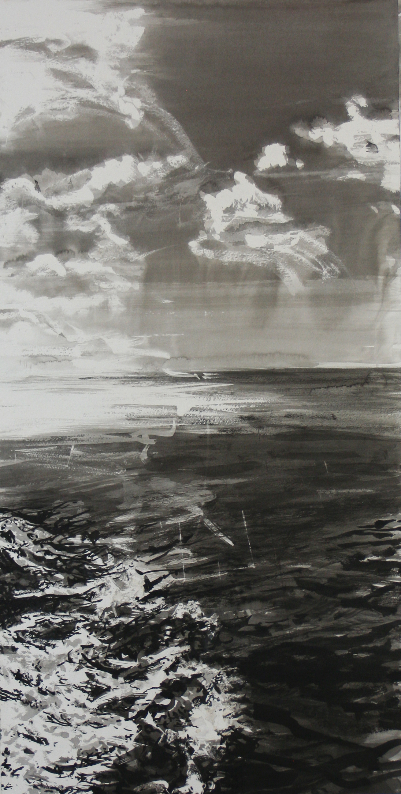 "First Wave   38"" x 19"" / sold Sumi ink on paper"