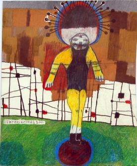 """Circus Magic  graphite, colored pencil on paper 12"""" x 9.5"""""""