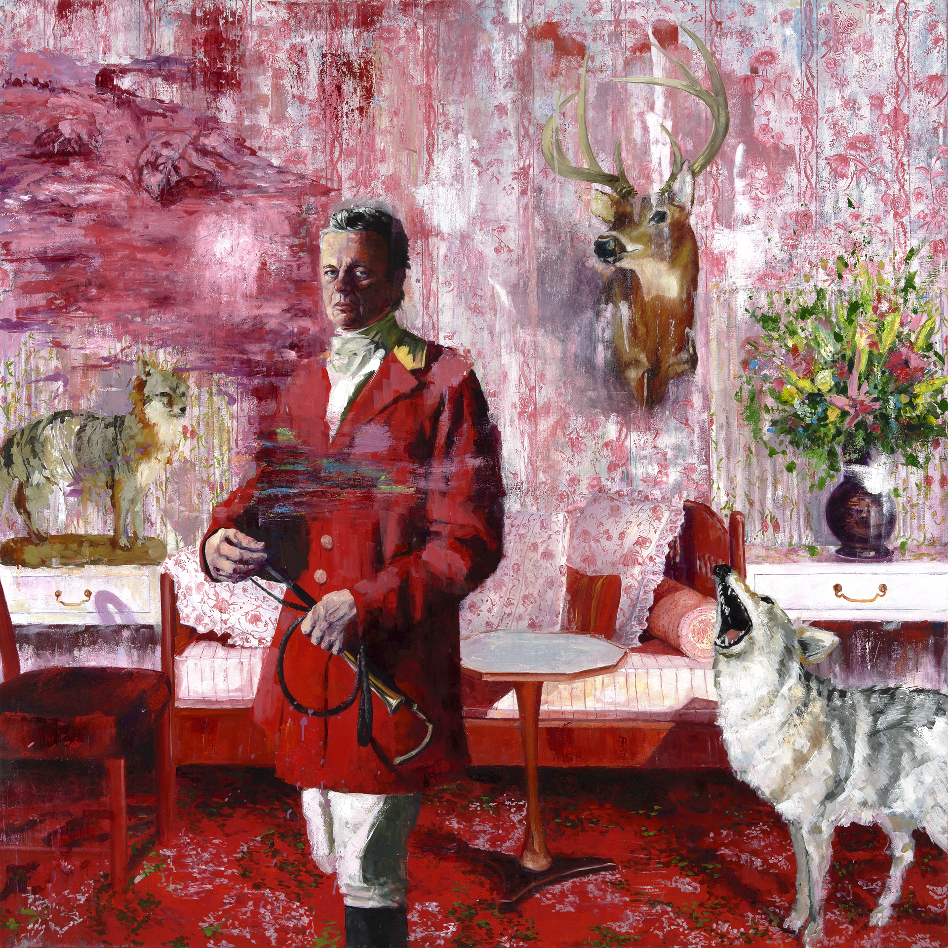 "T he Howl and the Master  oil on canvas 72"" x 72"""