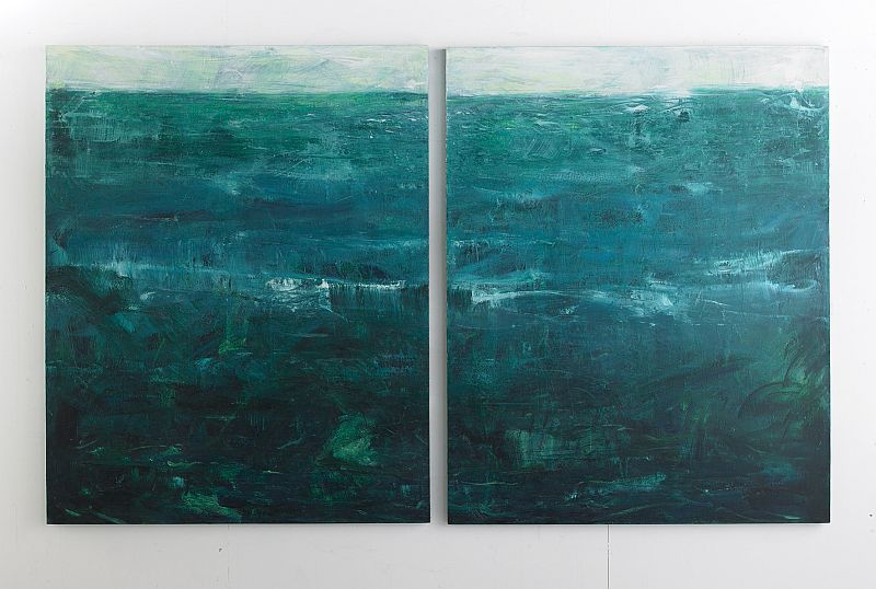 "Below Sea Level   Diptych oil, cold wax on wood  60"" x 96"" / sold"