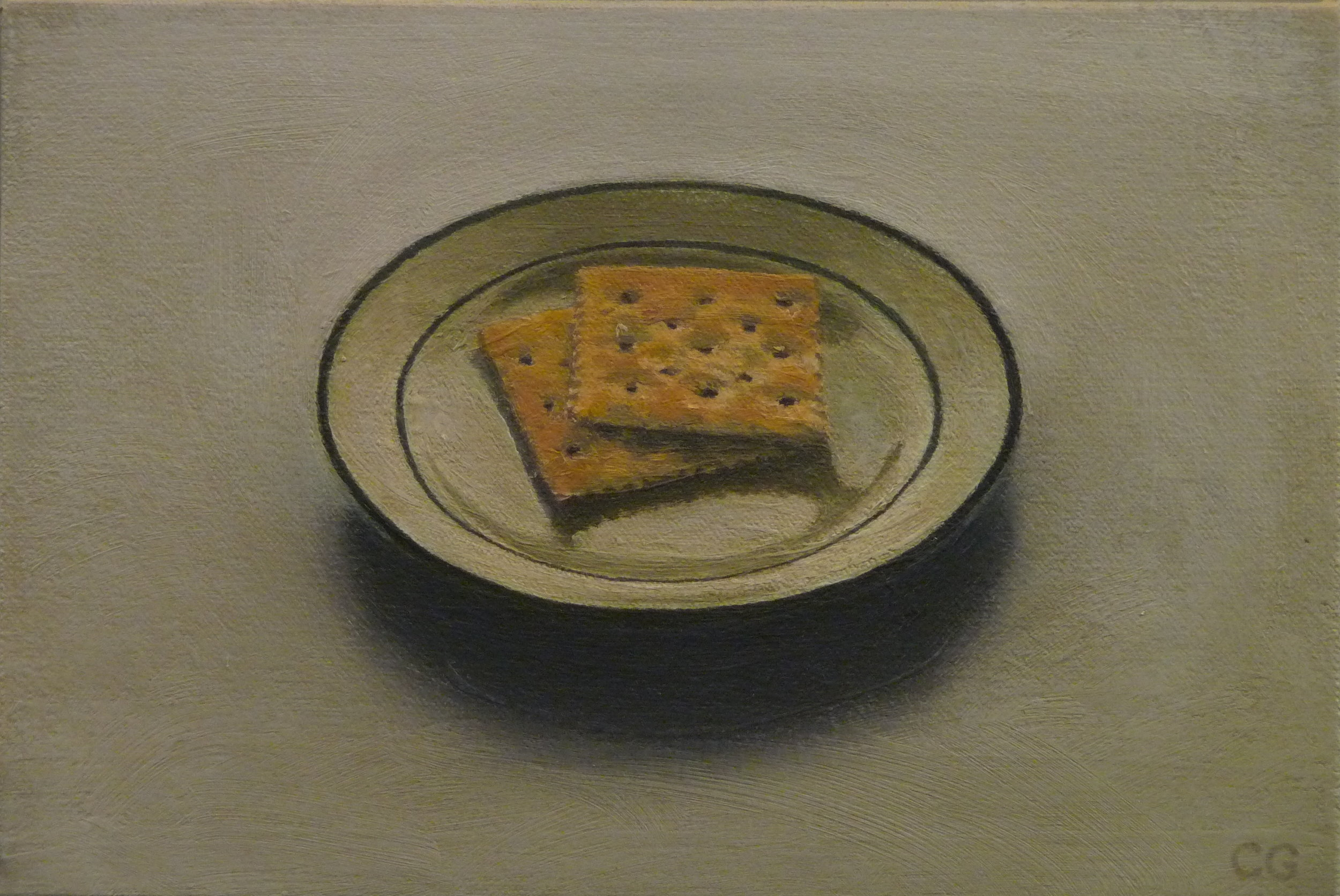 "Saltines   Oil on canvas 7"" x 10"""