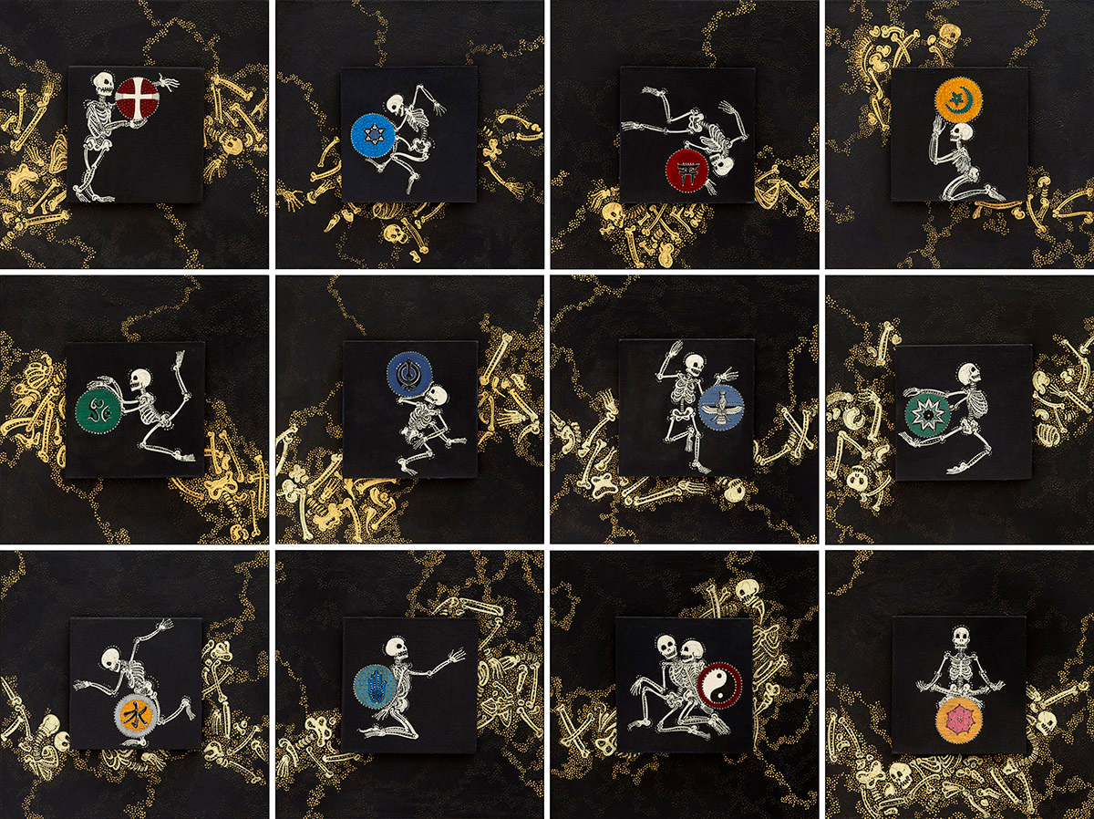 """The Bones Are The Same   Ink, acrylic & gold leaf on museum board  12 images 6"""" x 6"""""""