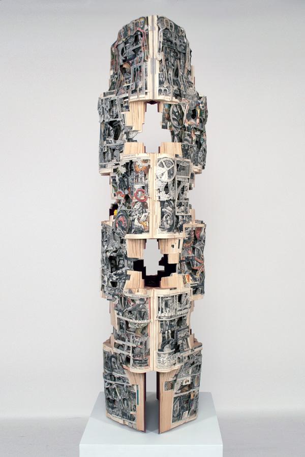 "Brian Dettmer   World Scope  (Front) 2019 Hardcover book, acrylic varnish  47"" x 13"" x 14"""