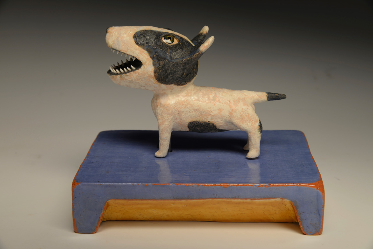 "Barking Dogs   Hand built ceramic 5"" x 4"" x 4"" / sold"