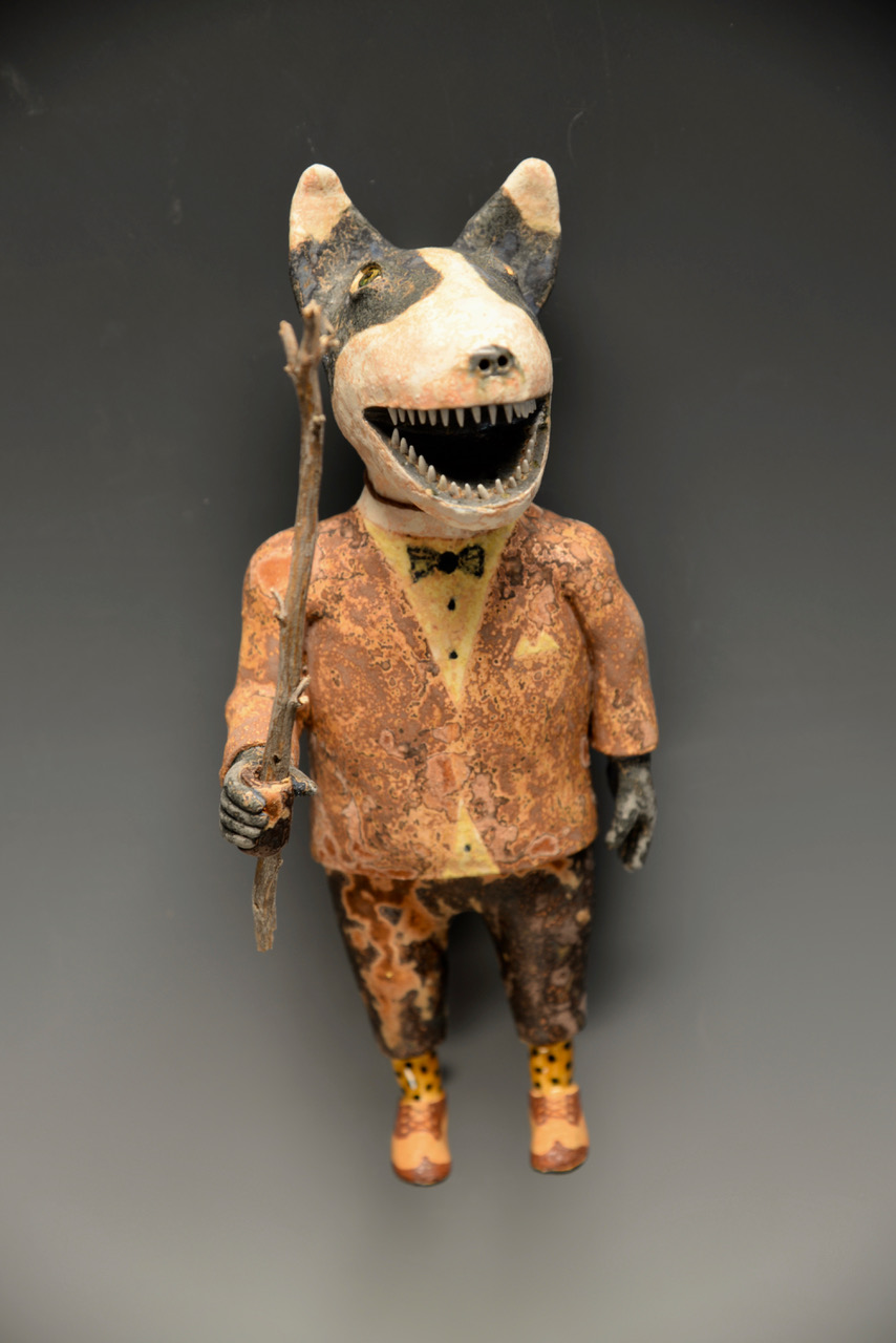 "Dog Man with Walking Stick   Hand build ceramic  8.5"" x 3.5"" x 3.5"""