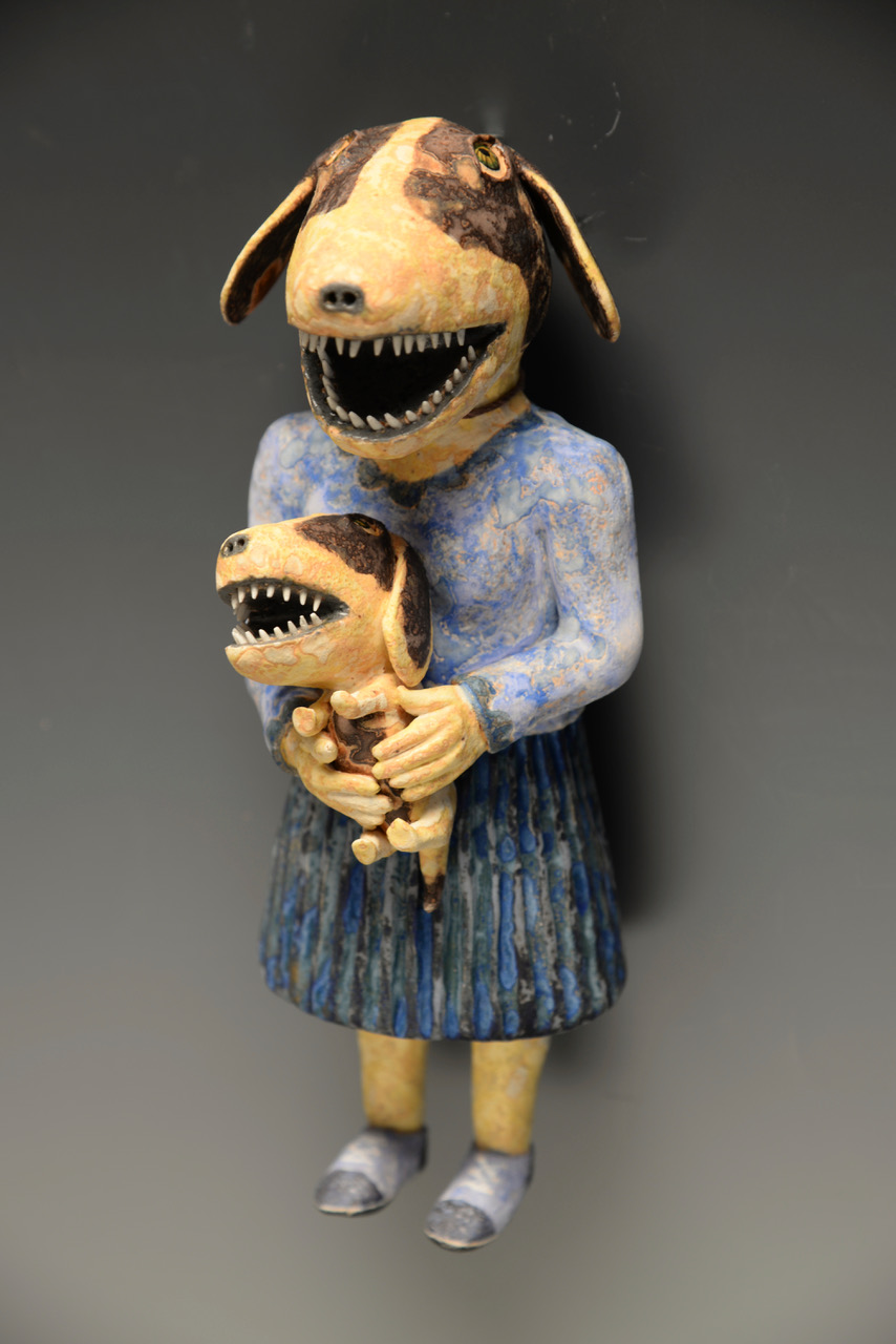 "Lady with Pup   Hand built ceramic  8.5"" x 3.5"" x 3.5"" / sold"