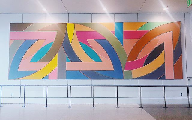 Taking a beat between gates to admire the #FrankStella at @seatacairport. . . . #designlife #colorstudy #airportdiaries #stopandlook #artinspo #seattleairport
