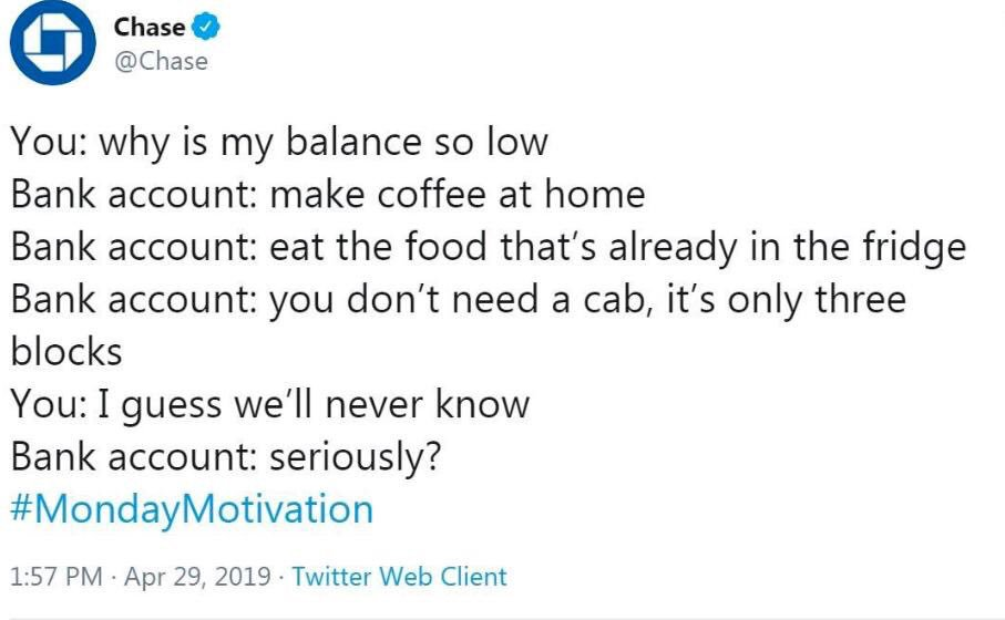 A screenshot of a Chase bank tweet giving people money advice