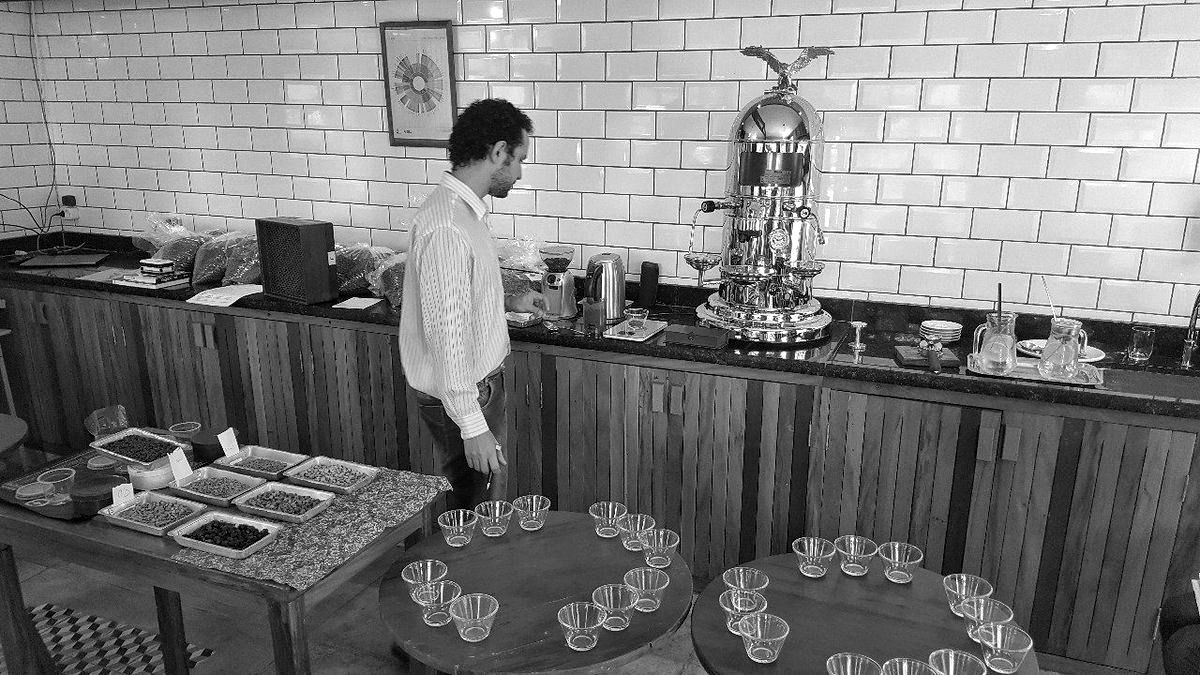 Jonas Ferraresso in the cupping room