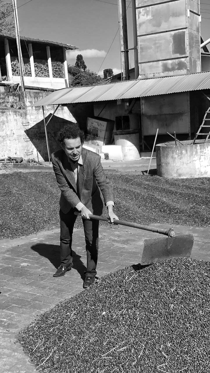 Jonas working on a coffee farm in Brazil