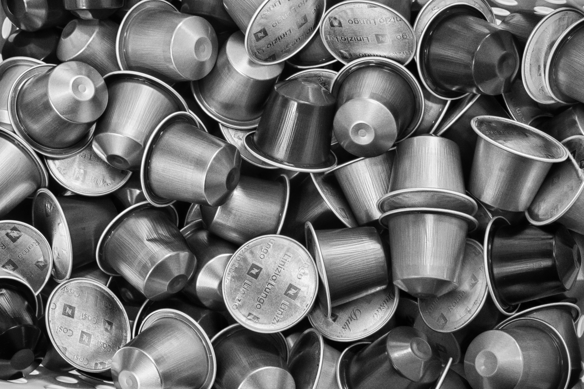 A pile of coffee capsules