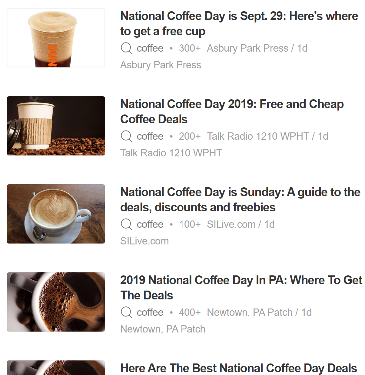 A screenshot of news stories about National Coffee Day