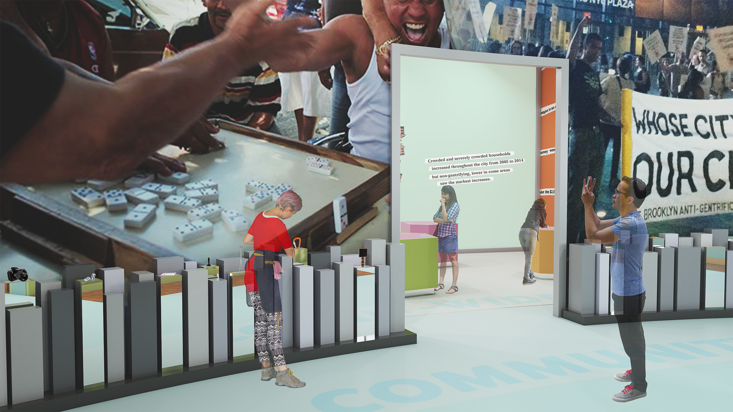 The community spaces area contains large-scale video projection behind pedestals displaying objects related to New York City community spaces. Visitors touch wristbands to object pedestals to trigger video projection of the environment of the community that relates to the object they have selected. When a new projection is triggered, the visitor hears a longtime resident describe why that particular community is important to them as an extension of home.