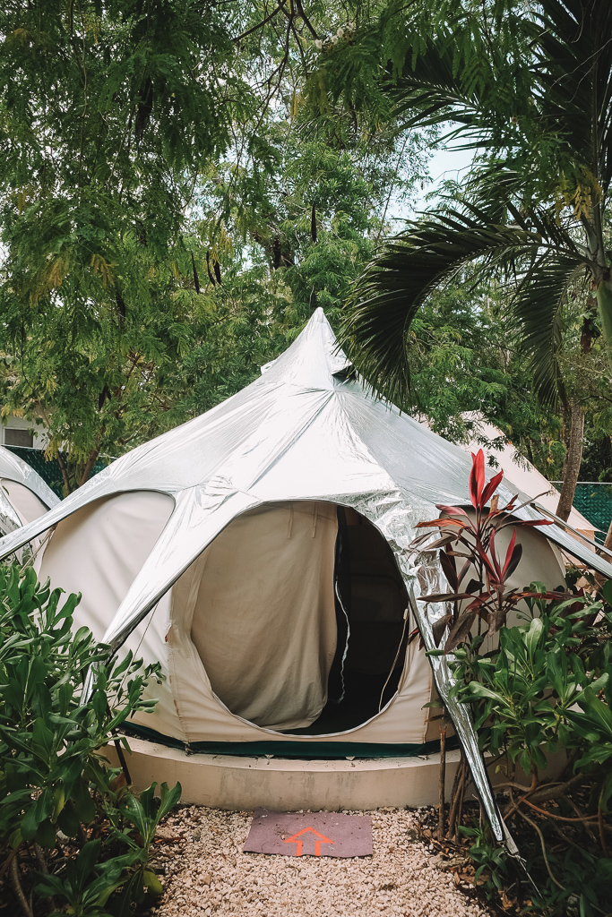 """Welcome to my home! The """"Flower Power"""" glamping tent at Harmony Glamping Tulum."""