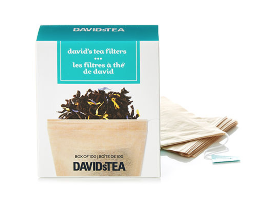 """Davids Tea Tea Filters - Canadian-based tea brand Davids Tea has been using hemp to create their unbleached, biodegradable, eco-friendly tea filter bags. They create a low-waste way to enjoy the many flavors of their loose-leaf tea, in a filtration method that leaves no taste or chemicals in your hot cuppa. From the label: """"Our tea filters are oxo-biodegradable and made of chlorine-free manila hemp, so the only thing added is your tea. Plus they come in a paper box that's 100% recyclable, so the environment stays happy too."""" Cheers to that!"""