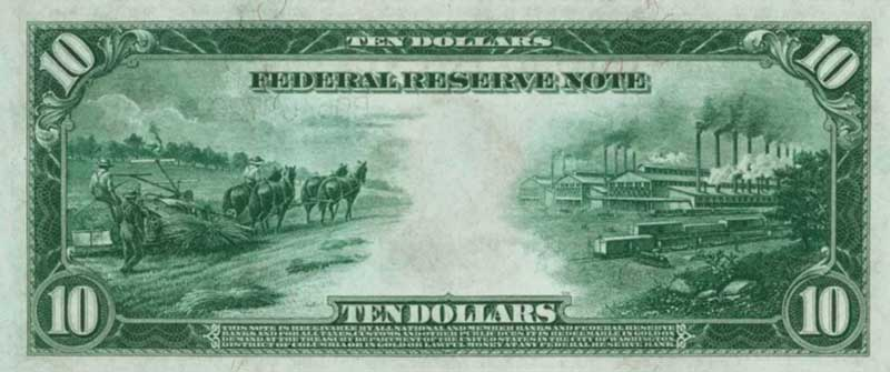 In 1914 the United Staes $10 bill featured an image of hemp being harvested, a symbol of how prevalent hemp cultivation was at the time.