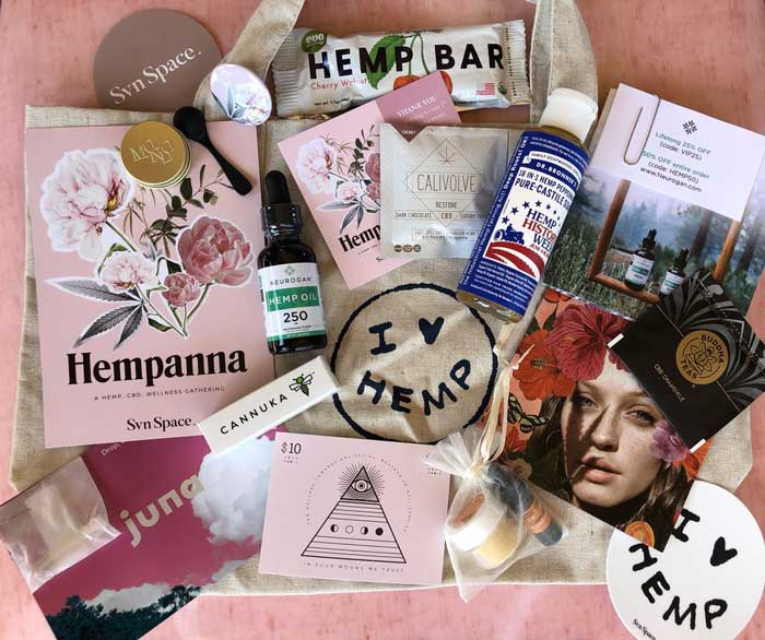 Hempanna goody bag by Svn Space and Four Moons Spa in Encinitas