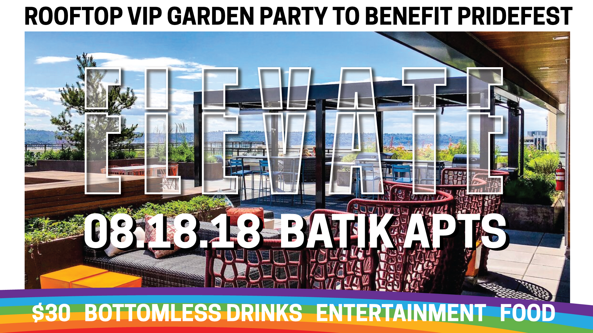 Keep PrideFest free for all and help us raise money for smaller pride events throughout the Northwest. $30 includes entry, bottomless drinks, and appetizers. This VIP mixer is on the roof of Batik and looks out at Mount Rainier, Puget Sound, and Downtown Seattle. Featuring DJ Skiddle.