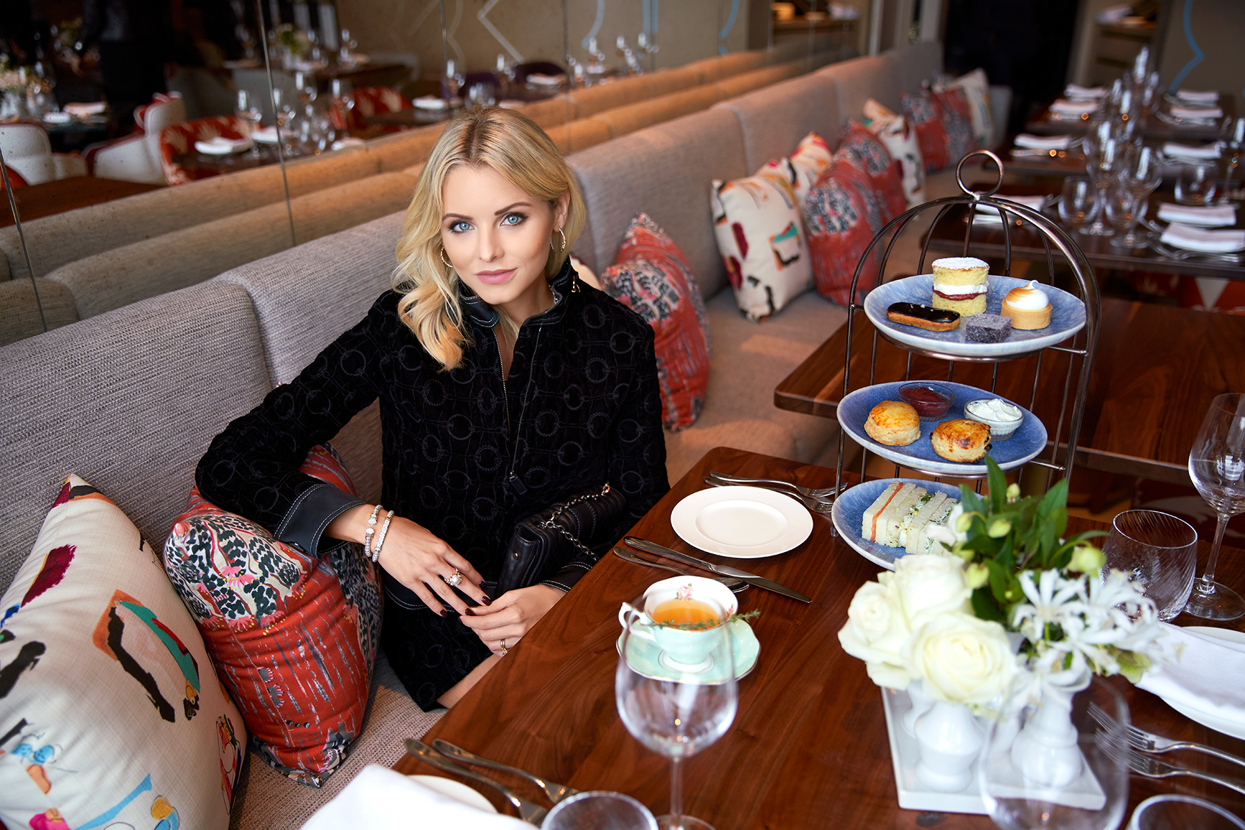 Taking a moment to relax and enjoy high tea at Bluebird London